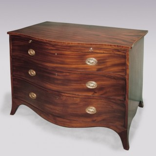 Antique Hepplewhite period mahogany serpentine Chest.