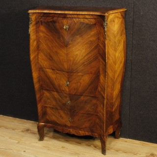 Italian Secrétaire In Rosewood And Palisander With Wet Bar Inside 20th Century
