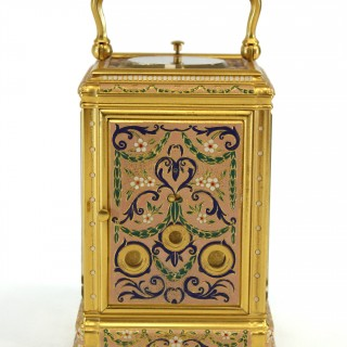 Polychrome painted bell striking carriage clock