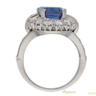 Sapphire and diamond cluster ring, circa 1950.