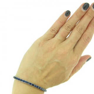 Art Deco sapphire line bracelet, circa 1925.