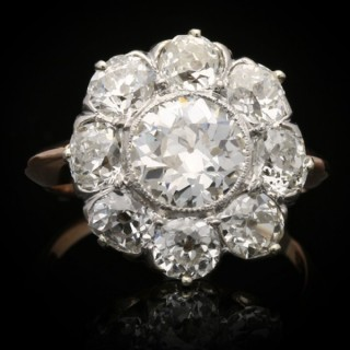 Antique diamond coronet cluster ring, circa 1905.