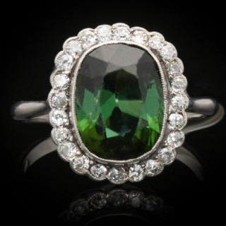 Edwardian tourmaline and diamond cluster ring, circa 1910.