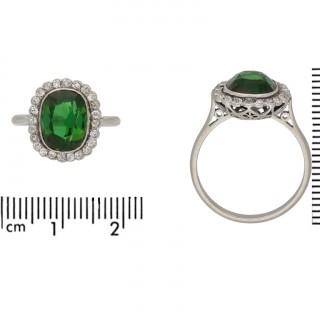 Edwardian tourmaline and diamond cluster ring, circa 1910.