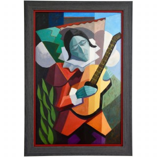 Art Deco cubist painting harlequin with guitar