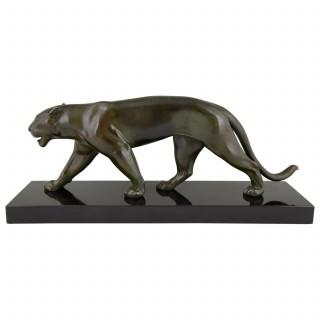 Art Deco sculpture of a walking panther.