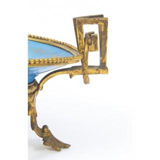 Antique Ormolu Mounted Bleu Celeste Sevres Porcelain Plate 19th C