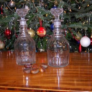 A pair of Regency Period circular decanters