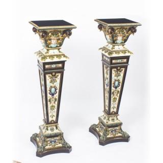 Antique Pair Swedish Rorstrand Majolica Pedestals 19th C