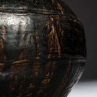 SQUAT SOUTH CHINA BLACK BROWN GLAZED STORAGE JAR