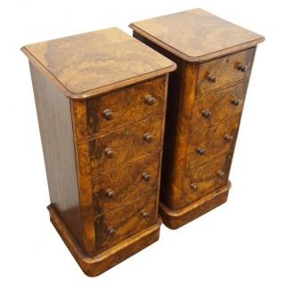 Pair of Tall Burr Walnut Bedside Cabinets