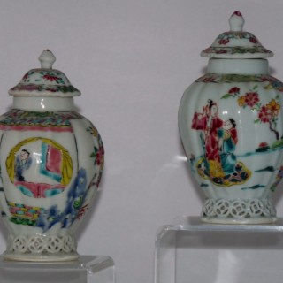 Yongzheng famille Rose pair of Porcelain Tea Caddies