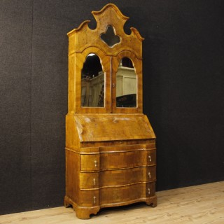 Venetian Desk Trumeau In Walnut And Burl Wood With Mirrors 20th Century