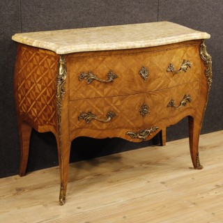 French Inlaid Dresser In Rosewood With Marble Top Louis XV Style 20th Century