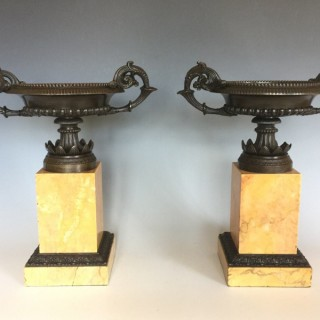 French Charles X Period Bronze Tazzas on Marble Plinths