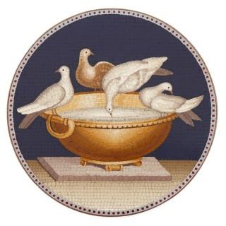 Antique Italian micromosaic plaque depicting the Capitoline Doves