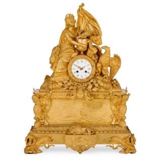 French antique ormolu mantel clock by Leroy, commemorating Napoleon Bonaparte