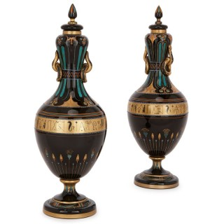 Pair of antique Bohemian black glass and gilt vases, in the Egyptian Revival style