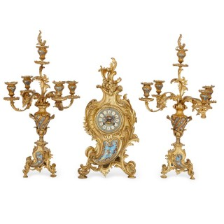 French antique gilt bronze and champleve enamel Rococo style clock set