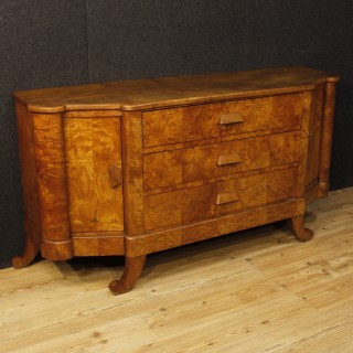 French Art Deco Sideboard In Wood With 3 Drawers And 2 Doors 20th Century