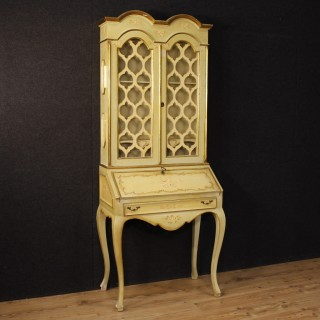 Italian Trumeau Desk In Lacquered And Painted Wood 20th Century