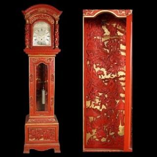 19TH CENTURY CHINESE CINNABAR & GILT LONGCASE CLOCK