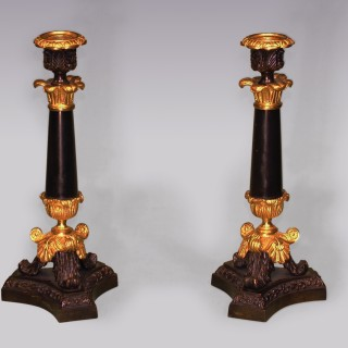 Pair of mid 19th Century well-cast bronze, ormolu and marble Candelsticks.