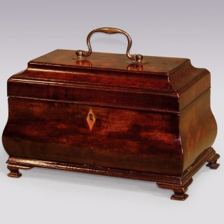 18th Century mahogany bombée form Tea Caddy.