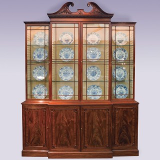 Late 18th Century mahogany Breakfront Bookcase, with swan neck pediment.