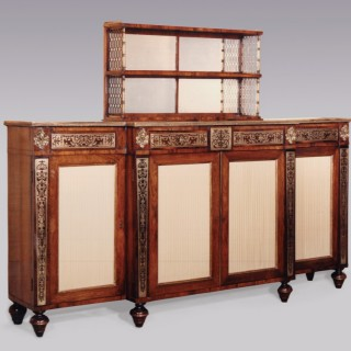 Early 19th Century rosewood and brass Chiffonier, after designs by John McLean.