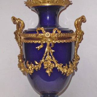 A French ormolu mounted porcelain lamp