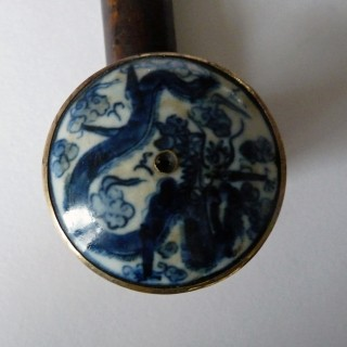 19th Century Chinese Opium Pipe with Jade Mouthpiece