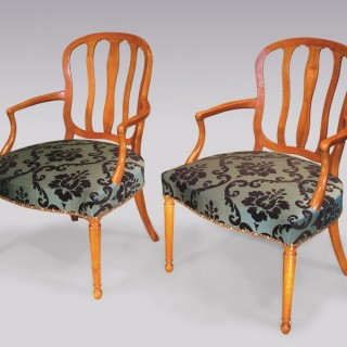 Pair of 18th Century Continental satinwood Armchairs.