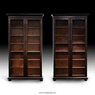 ANTIQUE PAIR OF GLAZED BOOKCASES / DISPLAY CABINETS