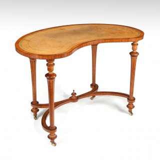 Fine 19th Century Satinwood Kidney Shape Side Writing Table