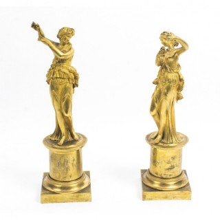 Antique Pair French Ormolu Classical Maidens Dancing Early C1820