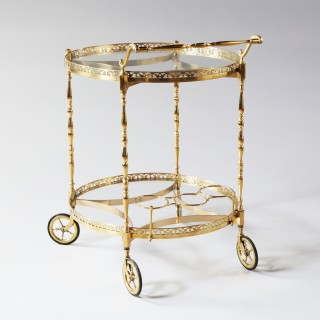 FRENCH MID CENTURY POLISHED BRASS CIRCULAR BAR CART DRINKS TROLLEY