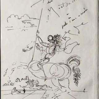 Cavalier dans un paysage avec personnages assis et enfant