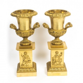 Antique Pair of French Gilt Bronze Empire Revival Garniture Urns 19th C