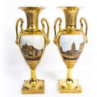Antique Pair Continental Porcelain Double Handled Gilt Vases late 19th C