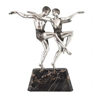 Art Deco silvered bronze sculpture of a dancing couple.