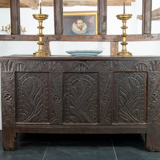 17th century oak carved chest