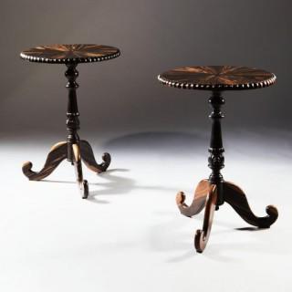 PAIR ANGLO INDIAN CIRCULAR CALAMANDER LAMP TABLES