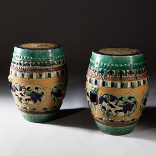 PAIR OF CHINESE POTTERY GARDEN STOOLS / TABLES