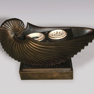 A 19th Century cast iron Nautilus Inkwell.
