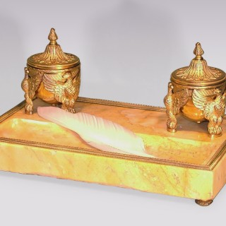 A French marble and ormolu Pentray.