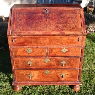 Early 18th Century George I Period Walnut Unusually Small Antique Bureau