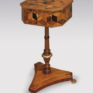 Regency period parquetry inlaid Teapoy.