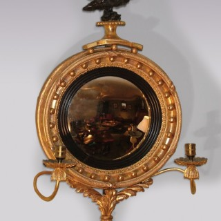 Small antique Regency period giltwood Convex Mirror.