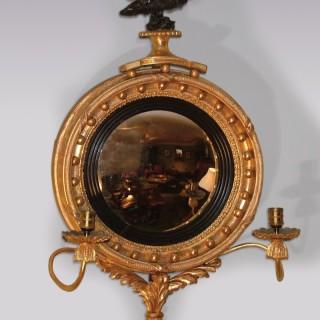 Small 19th century Regency period giltwood Convex Mirror.